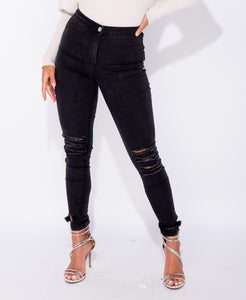 Charcoal Ripped High Waist Jeggings by uniquely-sophias