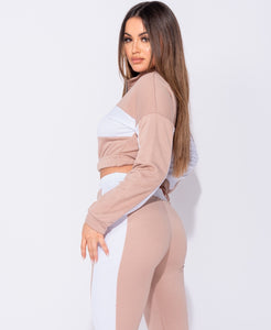 Pink Colour Blocked Zip Detail Cropped Top Lounge Set by uniquely-sophias
