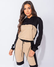 Load image into Gallery viewer, Contrast Panel Detail Cropped Hooded Top & Joggers by uniquely-sophias