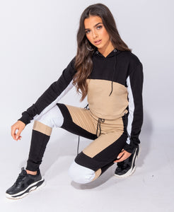 Contrast Panel Detail Cropped Hooded Top & Joggers by uniquely-sophias