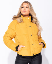 Load image into Gallery viewer, Mustard hooded puffa jacket by uniquely-sophias