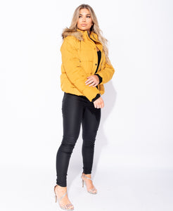 Mustard hooded puffa jacket by uniquely-sophias