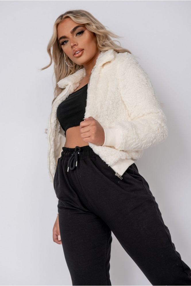 Cream Teddy Fur Bomber Jacket