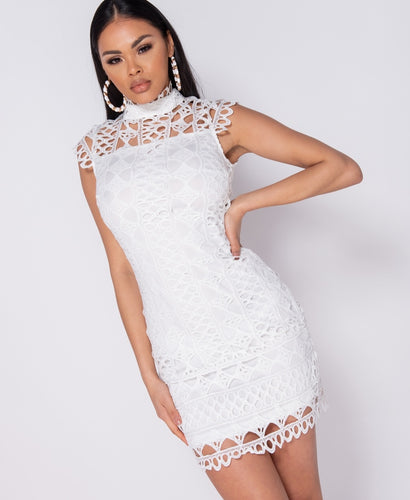 Cutwork Lace High Neck Sleeveless Mini Dress