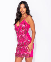 Load image into Gallery viewer, Dangling Sequin Plunge Neck Cami Style Bodycon Mini Dress by uniquely-sophias