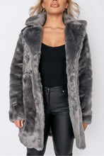Load image into Gallery viewer, Dark Grey Mid Length Faux Fur Coat
