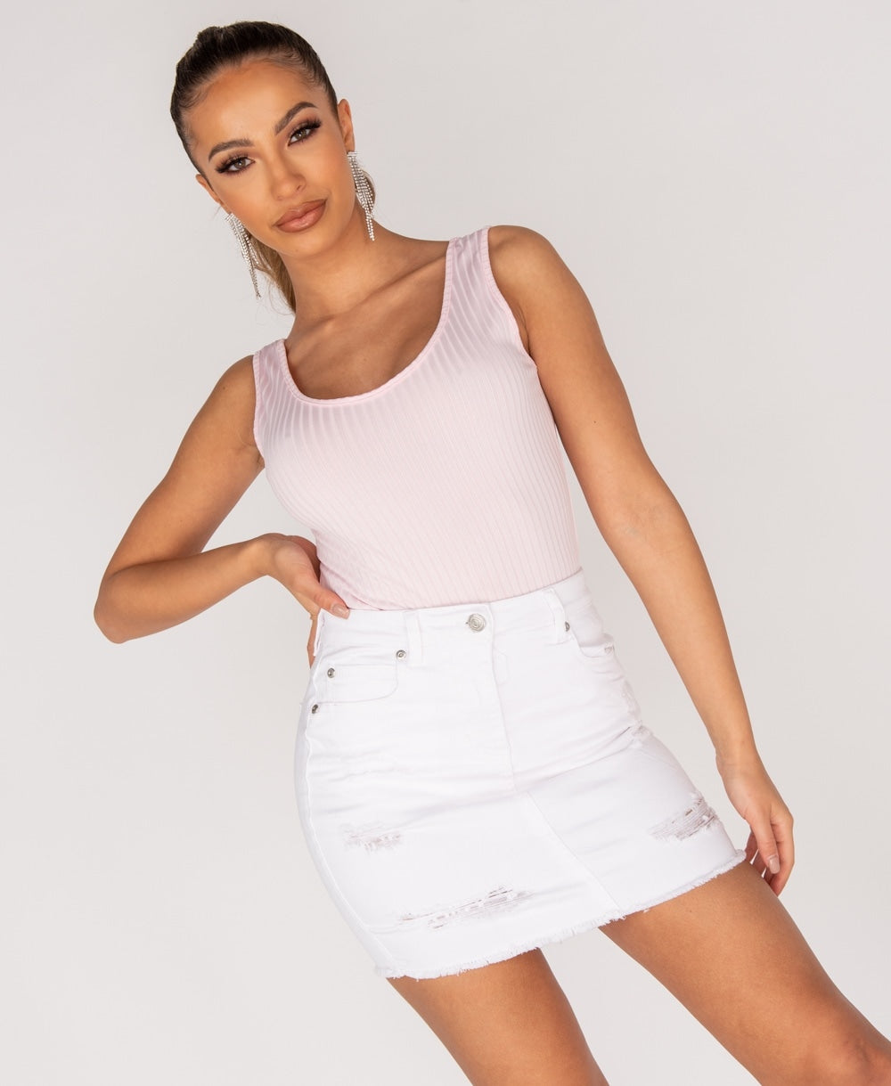 White Distressed Frayed Hem Denim Mini Skirt