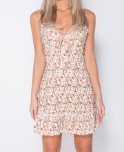 Load image into Gallery viewer, Ditsy Floral Frill Detail Tie Front Mini Dress