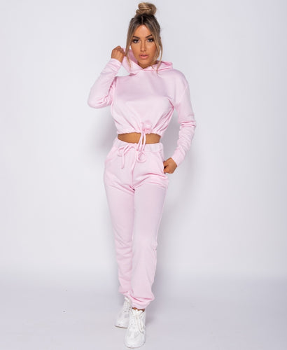Pink Drawstring Detail Cropped Hoodie & Jogging Trousers Set