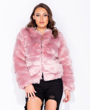Load image into Gallery viewer, Edge To Edge Collarless Faux Fur Coat by uniquely-sophias
