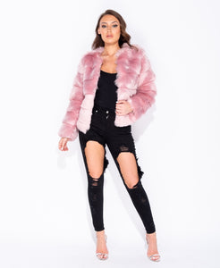 Edge To Edge Collarless Faux Fur Coat by uniquely-sophias
