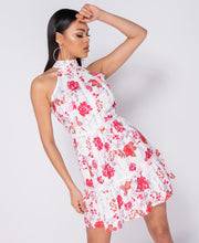 Load image into Gallery viewer, Floral Print Lace Trim Frill Detail Backless Dress
