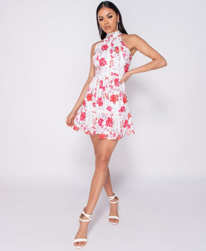 Floral Print Lace Trim Frill Detail Backless Dress