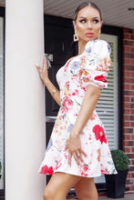 Load image into Gallery viewer, Floral print sweetheart neck ruched sleeve dress