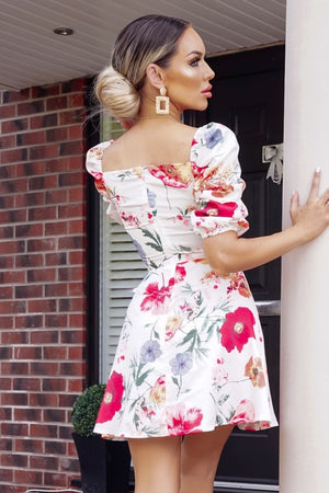 Floral print sweetheart neck ruched sleeve dress