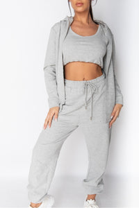 Grey 3 Piece Hoody and Jogger Lounge Set
