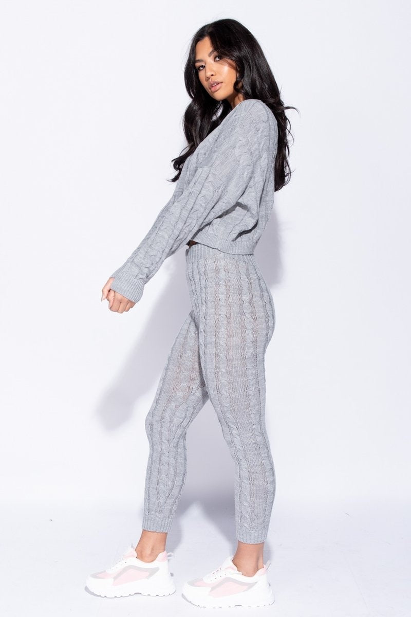 Grey Cable Knit lounge Set