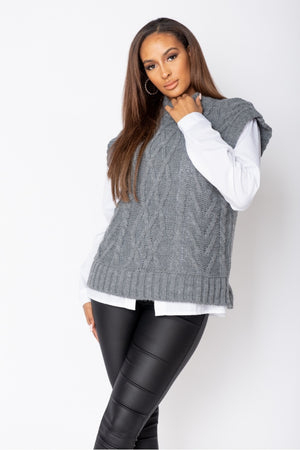 Grey Cable Knit Sleeveless Jumper
