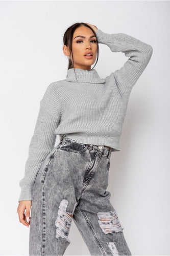 Grey Turtle Neck Rib Knit Jumper