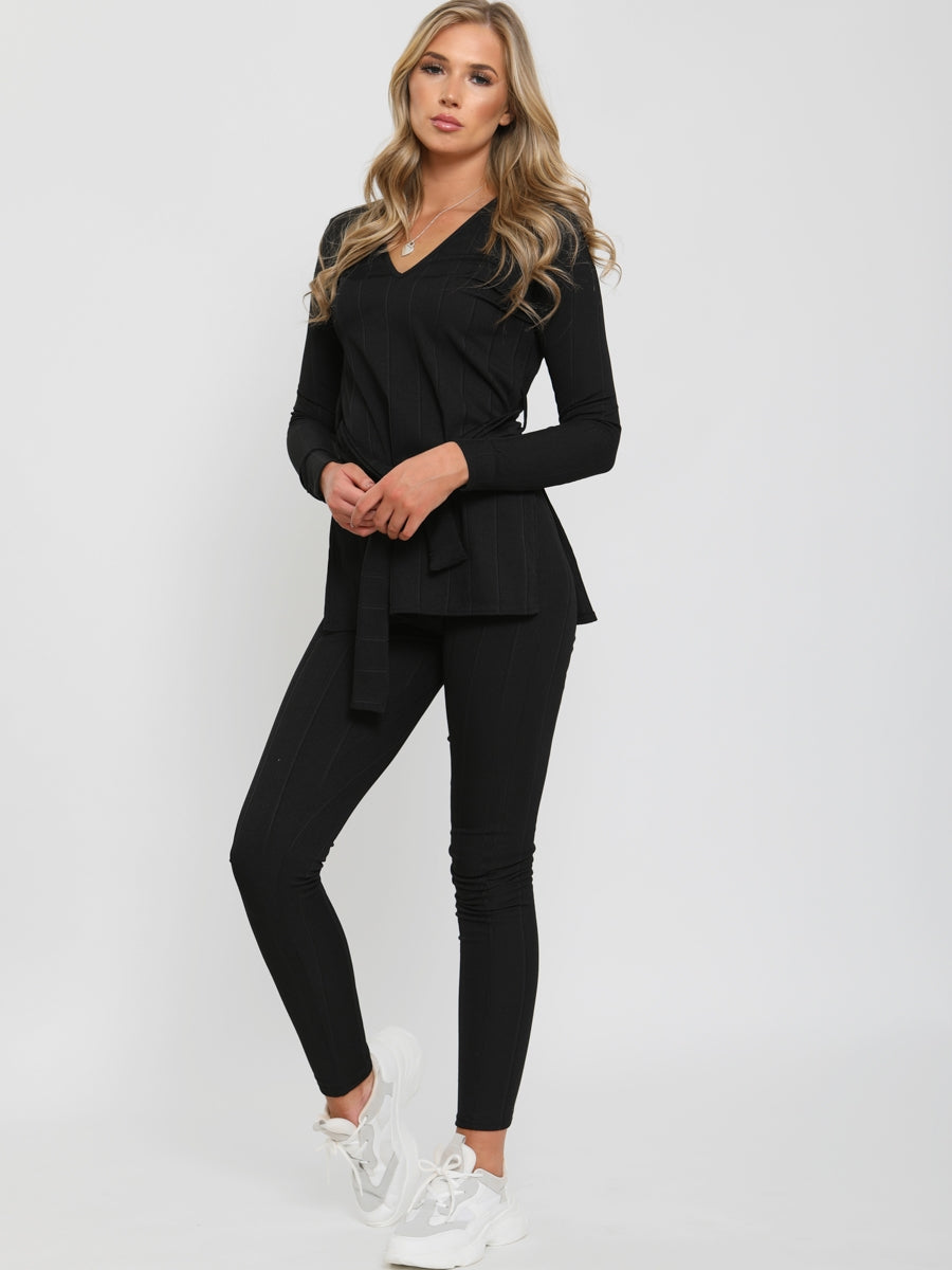 Black Ribbed Side Split Top and Trousers Lounge Set