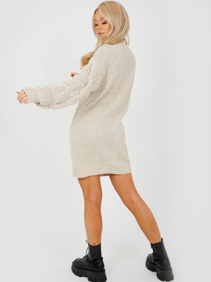 Stone Bubble Sleeve Knitted Dress
