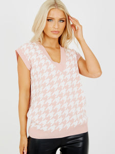 Rose Gold Dogtooth V- Neck Sleeveless Knitted Jumper