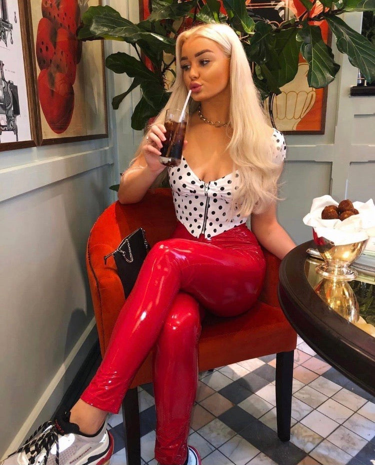 Red Wetlook Vinyl PU High Waisted Trousers