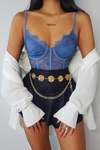 Blue Lace Flower Bodysuit by uniquely-sophias