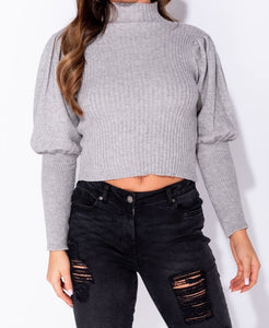 Puff Sleeve High Neck Rib Panel Knitted Jumper by uniquely-sophias
