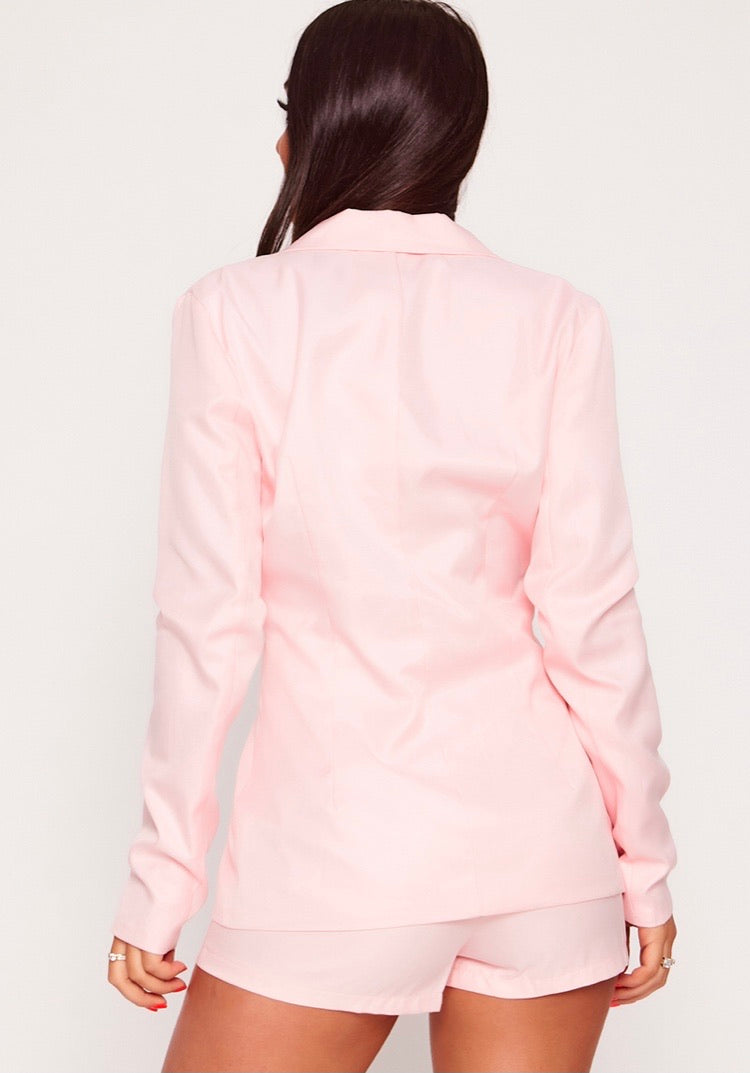Button Front Blazer Pink