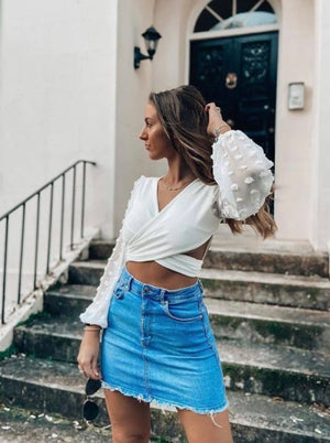 Sheer Sleeve Wrap Over Tie Back Crop Top