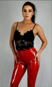 Wetlook Vinyl PU High Waisted Trousers by uniquely-sophias