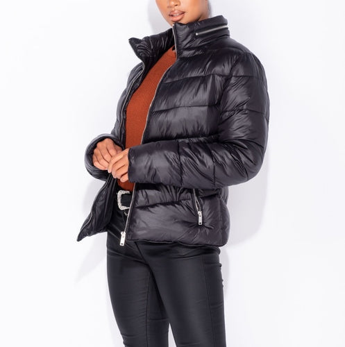 High Shine Zip Front Puffa Coat by uniquely-sophias