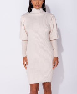 Stone Puff Sleeve High Neck Rib Panel Knitted Jumper Dress by uniquely-sophias