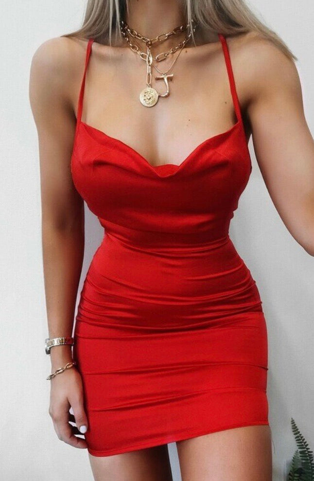 Red satin cowl neck dress