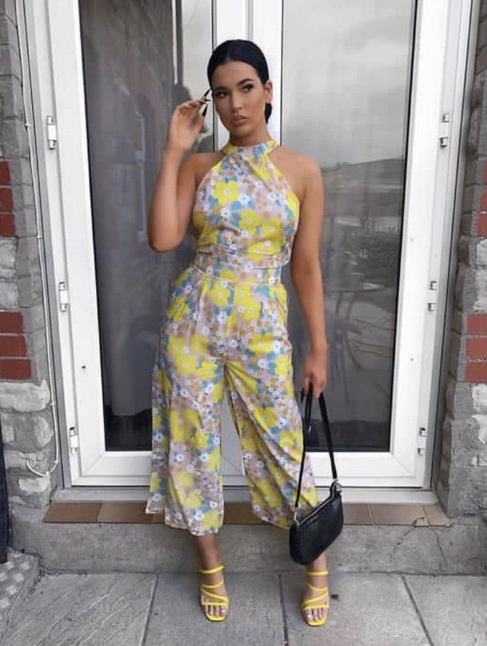 Floral Print Tie Neck Sleeveless Jumpsuit