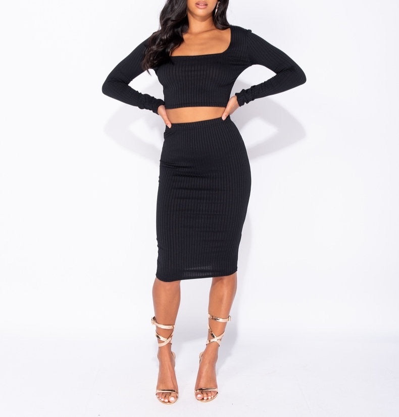 Rib Knit Scoop Neck Long Sleeve Crop Top & Rib Knit Midi Skirt by uniquely-sophias