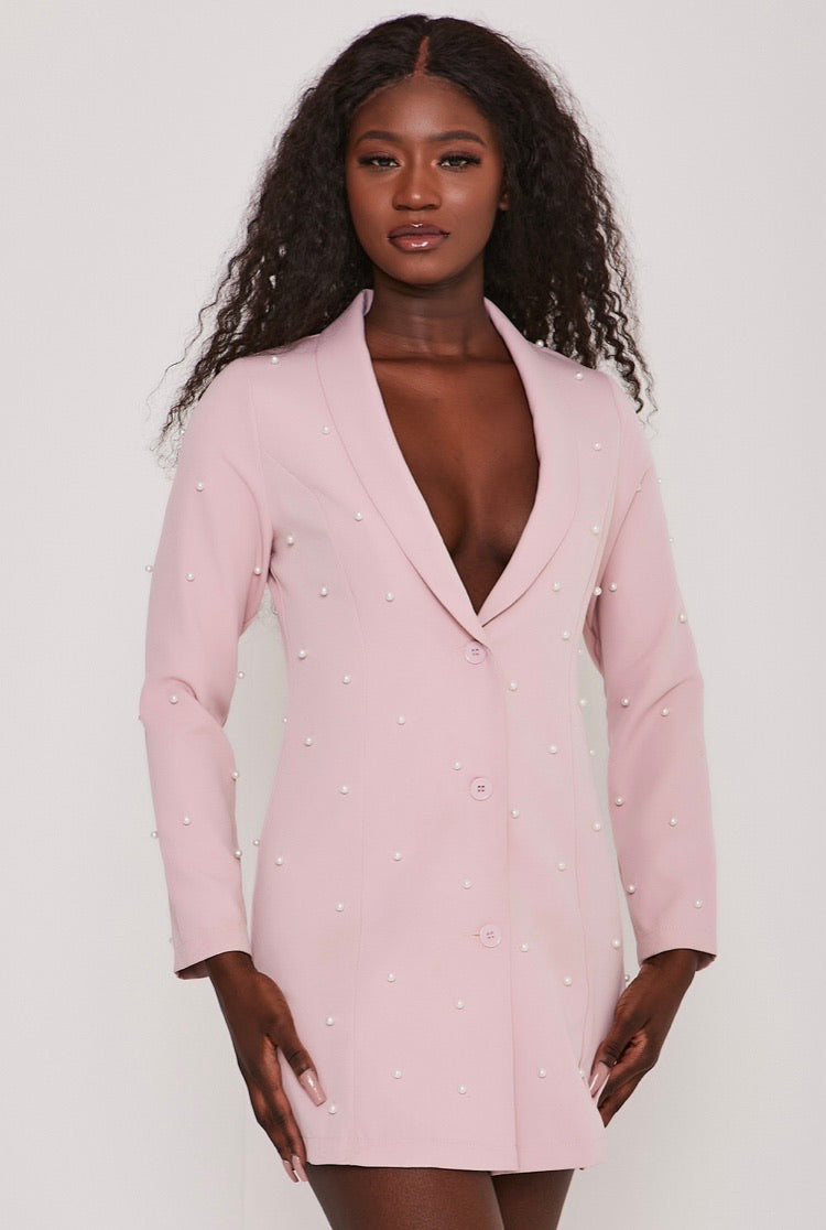 Pearl Embellished Tuxedo Collar Blazer Dress Blush Pink