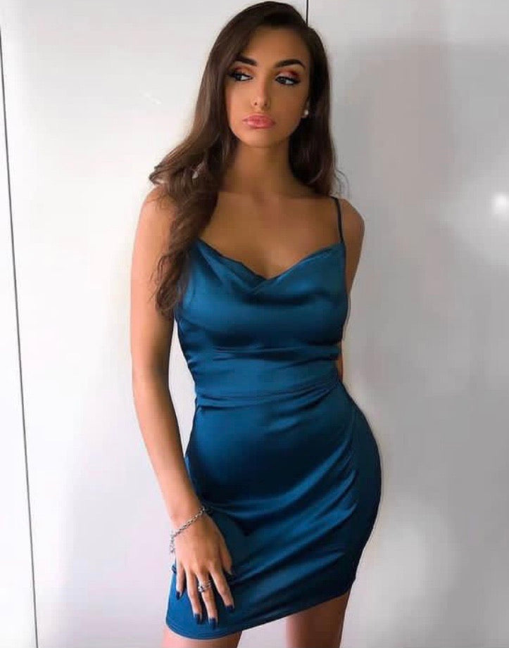 Satin Cowl Neck Bodycon Mini Dress