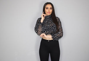 Black  Polka Dot High Neck Blouse Top