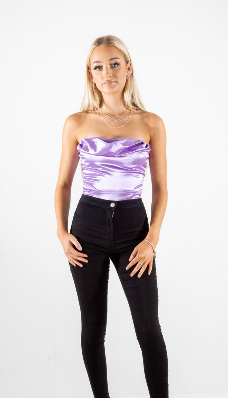 lilac cowl neck  satin bodysuit
