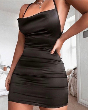 Black Cowl Neck Satin Mini Dress