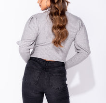 Load image into Gallery viewer, Puff Sleeve High Neck Rib Panel Knitted Jumper by uniquely-sophias