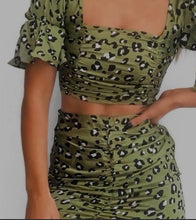 Load image into Gallery viewer, Sage Animal Print Ruched Co-ord