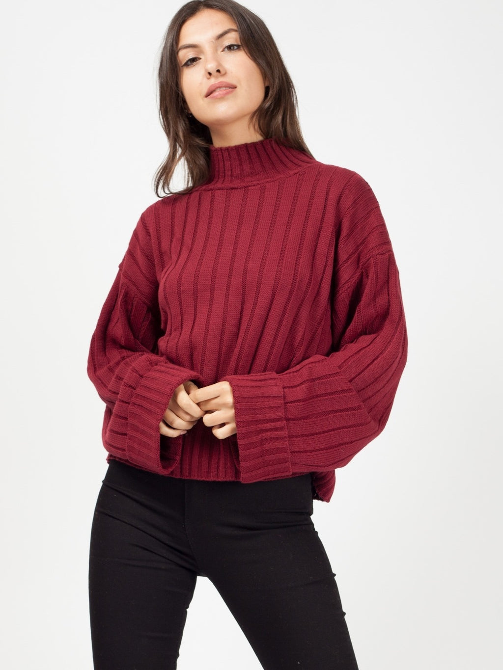 Wine Turtle Neck Oversized Knitted Jumper