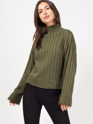 Khaki Turtle Neck Oversized Knitted Jumper