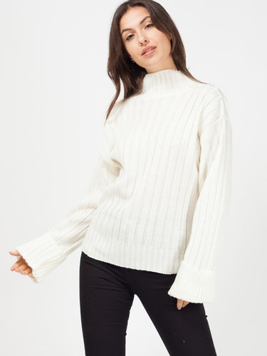 Cream Turtle Neck Oversized Knitted Jumper