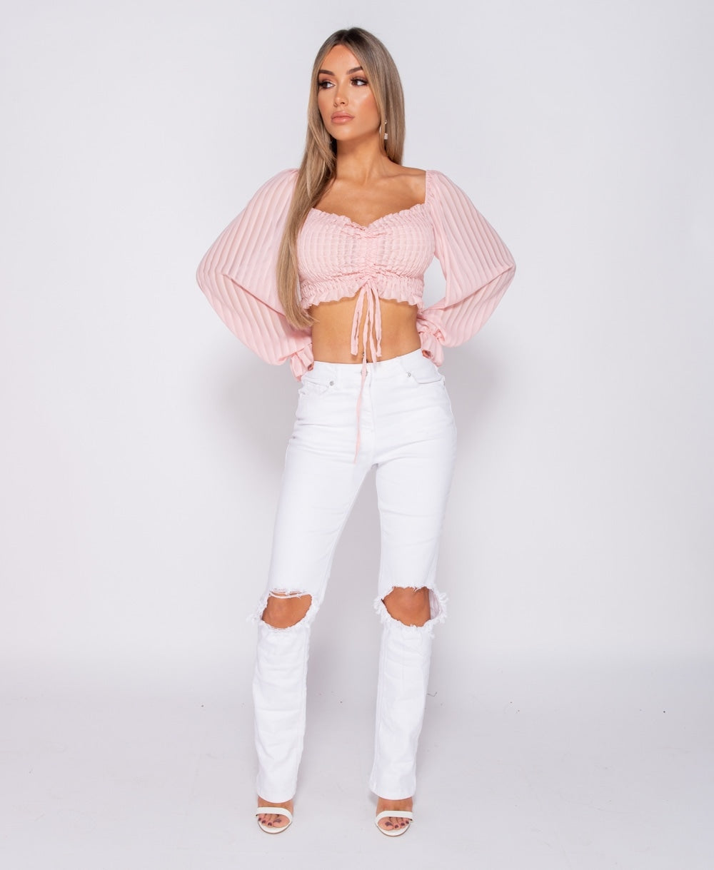 White Knee Rip Distressed Straight Leg High Waist Jeans