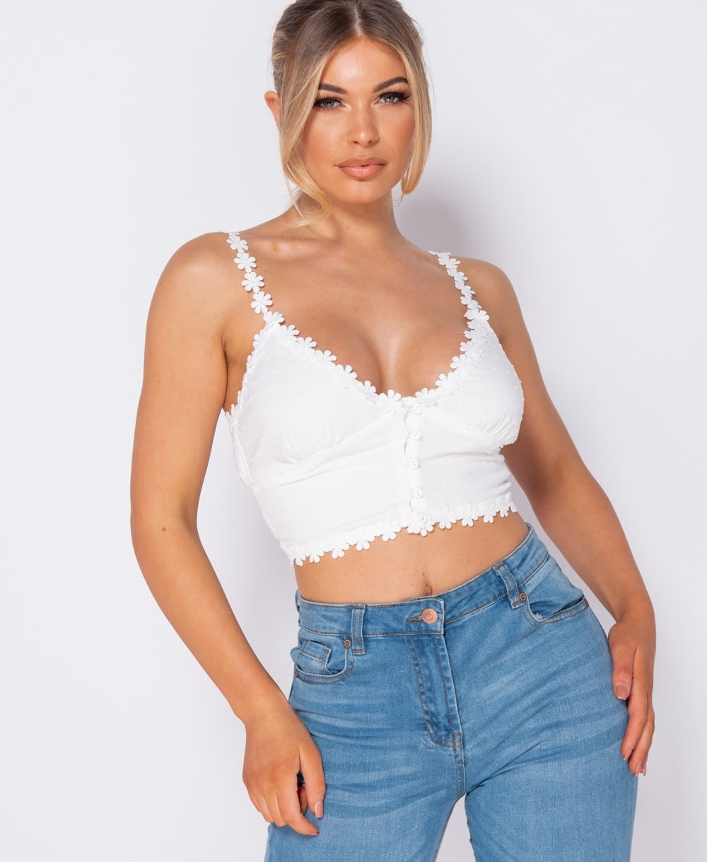 Lace Trim Button Up Crop Top