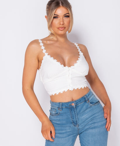 Lace Trim Button Up Front Dobby Crop Top